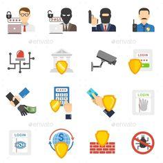 Bank Security Flat Icons Set