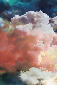 watercolored clouds