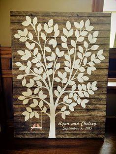 Wedding Tree Canvas | Guest Book Alternative | Customer Photo | Rustic Wedding | Love birds on a swing | Peachwik.com