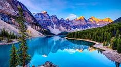 Photographic Print: Sunrise at Moraine Lake by Wan Ru Chen : 4k Wallpaper Android, Laptop Wallpaper, Hd Wallpaper, Laptop Backgrounds, Rainbow Wallpaper, Beach Wallpaper, Summer Wallpaper, Flower Wallpaper, Moraine Lake