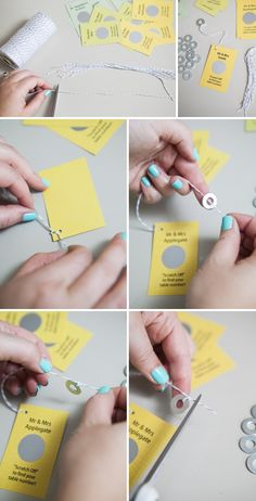 Easily make your own 'scratcher' escort cards!!! (Cute because it's a family tradition to get scratch off lotto cards for Christmas.)