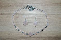 PINK QUARTZ NECKLACE AND EARRINGS