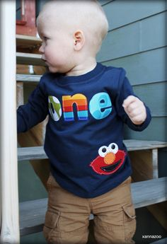 Boy ELMO With Age Shirt by Xannazoo on Etsy, $26.00