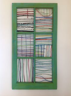 Wall art - wood window with painted twigs
