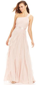 Adrianna Papell Petite One-Shoulder Tiered Chiffon Gown