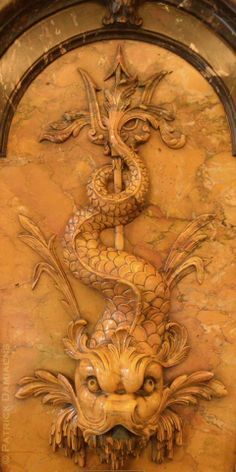Carved in yellow marble at the Museum 'Nissim De Camondo' in Paris