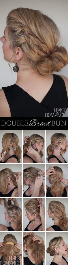 Double braid bun; Get the scoop on these wedding hairstyle tutorial looks from Hair Romance's amazing blog. hairromance.com
