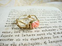 Handmade gold k18 ring with Coral rose by art1jewel on Etsy