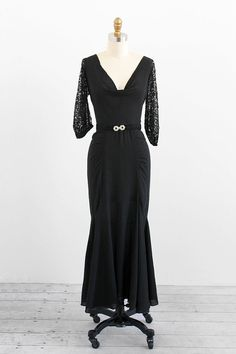 vintage 1930s dress / black 1930s gown / Black by RococoVintage, $346.00