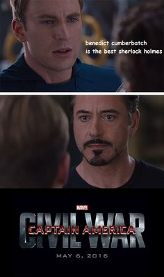 "Captain America: Civil War meme: ""Benedict Cumberbatch is the best Sherlock Holmes."" Posted on dorkly.com (image credit DarthMurdok)."