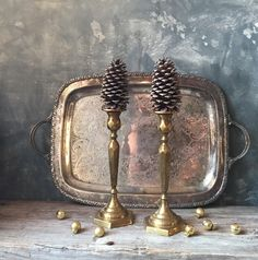 Vintage Brass Candlesticks: Solid Brass Candle Holders, Hollywood Regency Brass Decor, Holiday Decor by Untried on Etsy