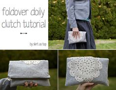 foldover doily clutch tutorial by skirt_as_top, via Flickr