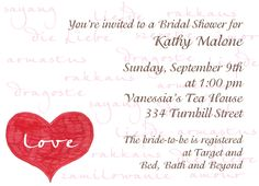 """Cancer Cures Collection  The Language of Love  Party Invitation  6 3/4"""" x 4 7/8""""  Full Color as shown  $26.00 for 16 Invitations"""