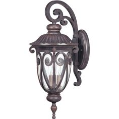 This brown transitional style hardwired outdoor 3-light wall scone provides an attractive and well-lit entryway. This antique looking burlwood lighting fixture with scroll design patterns throughout is both functional and decorative.