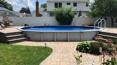 Semi Inground Pool Deck, Above Ground Swimming Pools, Swimming Pools Backyard, In Ground Pools, Above Ground Pool Inground, Above Ground Pool Landscaping, Backyard Pool Landscaping, Backyard Pool Designs, Small Backyard Pools