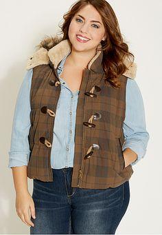 plus size plaid vest with faux fur hood - maurices.com