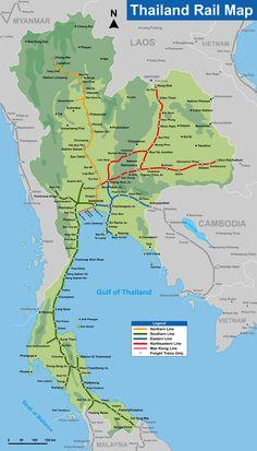 Thailand Rail Map #lovesamui #lovetrains