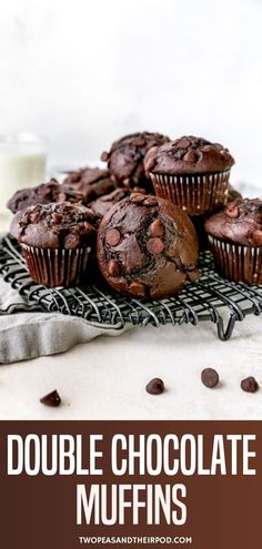 Double Chocolate Muffins- Super moist chocolate muffins made with cocoa powder and LOTS of chocolate chips! Enjoy these rich and decadent muffins for breakfast or dessert! Choc Muffins, Double Chocolate Chip Muffins, Homemade Chocolate Chip Muffins, Moist Chocolate Chip Muffins, Chocolate Flavors, Chocolate Desserts, Chocolate Chips, Chocolate Muffin Recipe Easy, Baking Recipes
