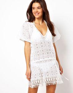 The prettiest crochet beach cover-up dress! #coverup #beach #dress