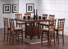 Amazon.com: 9pcs Walnut Counter Height Dining Table with Lazy Susan & 8 Stools Set: Home & Kitchen