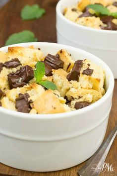 ... creamy, Chocolate Chunk Bread Pudding has large chunks of chocolate