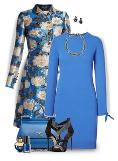 """""""Blue Floral"""" by loveroses123 ❤ liked on Polyvore featuring Dolce&Gabbana, Oscar de la Renta, Versace and Bobbi Brown Cosmetics"""