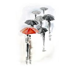 red #umbrella love watercolor from fairysomnia on etsy