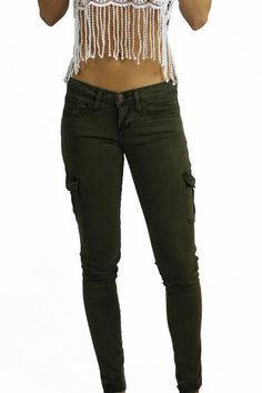 Flying Monkey Olive Cargo Denim Pants