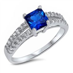 Vintage Classic Wedding Engagement Ring Solitaire Accent 1.24CT Princess Cut Square Blue Sapphire Round Clear CZ Solid 925 Sterling Silver