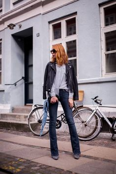 Blogger and Fashion Coordinator at ELLE Denmark, #MariaJernov rocking the streets of Copenhagen in her cool #Pieszak Marija Flare Jeans