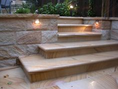Outdoor Deck Stairs Retaining Walls 42 New Ideas Garden Retaining Wall, Sloped Garden, Retaining Walls, Garden Stairs, Deck Stairs, Terrace Garden, Garden Walls, Sandstone Wall, Limestone Wall