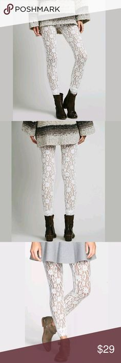 FINAL PRICE  FREE PEOPLE Leggings for fall! Final price but 15% bundle discount DOES apply!   FREE PEOPLE LEGGINGS  Pucker Lazy Lace Legging  COLOR: IVORY  SIZE: SMALL  NEW WITH TAGS  Measurements:  Waist: 13.5 inches without stretching  Hips: 14.5 inches without stretching  Total length: 37 inches without stretching  Inseam: 27 inches without stretching   Pair with high boots or low booties for the fall!   Ciao! Free People Pants Leggings