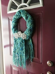 SCARF WREATH! This is absolutely the neatest idea for a wreath for the winter months! and this looks like my door!