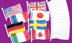 Design your own flags! Design Your Own Flag, Multicultural Crafts, Craft Projects, Craft Ideas, School Craft, Summer School, Blank Cards, Flags, Create Your Own