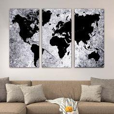 fb79d158d24 Τρίπτυχος πίνακας σε καμβά Abstract World map X ( παγκόσμιος χάρτης )