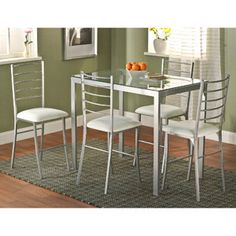 Contemporary Metal Counter Height Table, Silver  $105.00