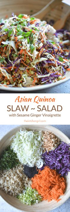 Eat clean with shredded vegetables, quinoa, and sesame ginger vinaigrette. GF, DF, Vegan, or add cooked chicken. Easy Asian quinoa slaw salad on thekitchengirl.com #vegetables