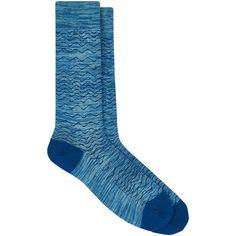 Barneys New York Men's Cotton-Blend Mélange Mid-Calf Socks ($35) ❤ liked on Polyvore featuring men's fashion, men's clothing, men's socks, blue, mens blue socks, mens patterned socks and mens socks