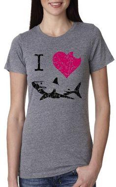 Women's I Love Sharks T Shirt Classic Shark Bite Shirt Shark Tee For Women, http://www.amazon.com/dp/B00CTV5TYA/ref=cm_sw_r_pi_awdm_5fn4tb020WCP5