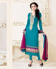 Aqua blue embroidered suit with golden border   1. Aqua blue georgette embroidered long suit2. Comes with matching bottom and dupatta3. Can be stitched upto size 44 inches