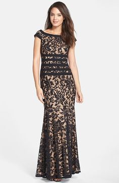 Free shipping and returns on Tadashi Shoji Textured Lace Mermaid Gown (Regular & Petite) at Nordstrom.com. Elaborate, textured lace fashions a stately, bateau-neckline gown highlighted with bold stripes around the waist and a subtly flared skirt that enhances the powerfully feminine silhouette.