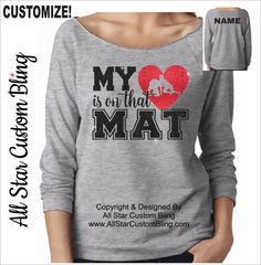 My Heart Is On That Mat Wrestling Terry Raw Edge 3/4 Sleeve Raglan Shirt
