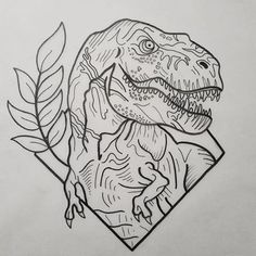 Outline dinosaur with leaved branch in rhombus frame tattoo design