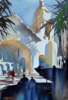 Santa Fe Railroad Station, San Diego - watercolor by Thomas W. Schaller