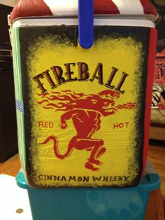 Fireball whisky painted cooler for SAE formal. Crafts<3