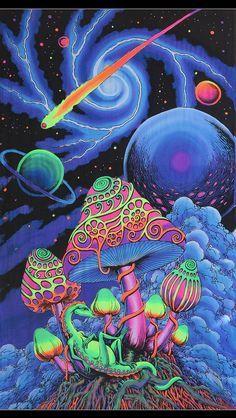 Trippy wall art 'Cosmic Shrooms' Psychedelic tapestry, Trippy wall hanging, UV active wall-hanging, Blacklight backdrop, Psytrance deco, LSD