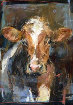 Brown & white cow in barn - Animal Prints - Prints Animal Painter, Animal Paintings, Cow Painting, Painting & Drawing, Cow Pictures, Gado, White Cow, Farm Art, Cow Art
