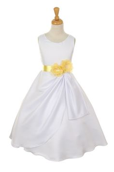 Girls Long White Dresses with Yellow Flower and Sash