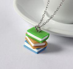Book necklace stack green gold blue glitter books charm pendant