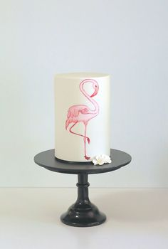 Water Colour Flamingo Cake
